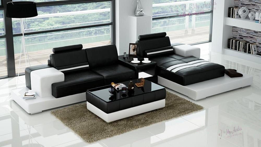 Image of Classic Modern L-Shaped Leather Sectional Sofa Set