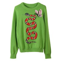 Indie Designs Gucci Inspired Butterfly Applique Snake Intarsia Wool Sweater