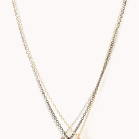 FOREVER 21 Pretty-Tough Hearts Necklace Gold/Silver One