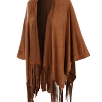 LE3NO Womens Boho Short Sleeve Suede Cape Cardigan with Fringe (CLEARANCE)