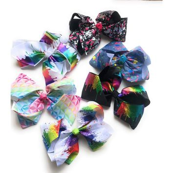 """Splatter Paint, Paint Drip and Rainbow Prism 8"""" Hair Bows"""