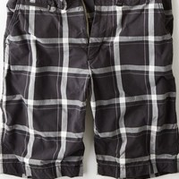 "AEO Men's 12"" Plaid Longboard Short (Tar Ash)"