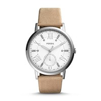 Gazer Multifunction Leather Watch, Silver Neutral   Fossil®