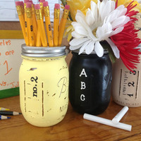 Set of 3 Hand Painted Teacher Mason Jars, classroom decor, teacher gifts