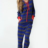 Ellie Knitted Contrast Hood Striped Onesuit