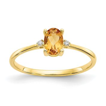 14k or 10k Yellow Gold Diamond & Citrine Oval November Birthstone Ring