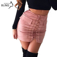 Women Autumn Lace-up Pencil Skirt 2017 Winter Fashion Cross High Waist Mini Skirts Zipper Split Bodycon Short Skirt Above Knee