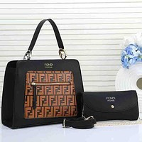 FENDI Trending Women Stylish Shopping Leather Handbag Shoulder Bag Crossbody Satchel Two Piece Set Black&Brown