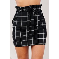 Checks And Balances Paper Bag Skirt (Black)