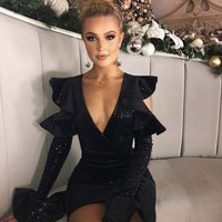 Lola Glamour Black Ruffle Dress