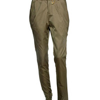 Khaki Tailored Harem Style Trousers - Get The Celebrity Look! - desireclothing.co.uk