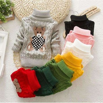 Boys Cable Knit Bear Design Pullover Turtleneck Sweater