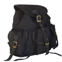 Military Inspired Stylish Backpack Canvas Day Pack Black