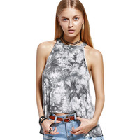 Brief Style Chic Fashion Lace And Polyester Fabric Women's Round Neck Tie Dye Print Tank Top