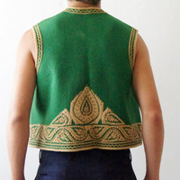 Vintage West wool Vest Hungarian green hand made Athletic  FREE shipping