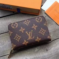 LV Louis Vuitton Hot Sale Zipper Clutch Bag Wristlet Wallet Purse Square Wallet