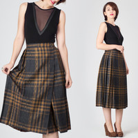 70s Brown & Grey Plaid Midi Skirt / Pleated Wool Tartan Skirt / Check Winter Wrap Medium M Skirt