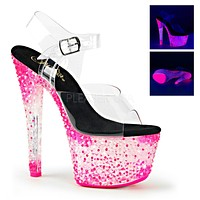 "Crystalize 708PS Clear Ankle Strap Upper Shoe Neon Stones 7"" Platform Heel - Pink"
