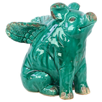 Cute & Endearing Antiquated Ceramic Flying Pig in Turquoise