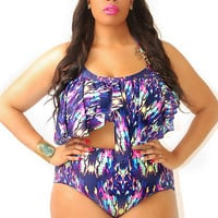 70s Blues Serengeti Swimsuit Bottom PLUS SIZE