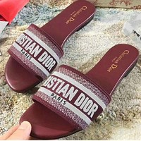 DIOR Popular Women Leisure Flat Slippers Sandals Shoes Burgundy