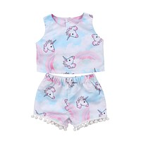 Summer Kids Toddler Baby Girl Clothing  T-shirt Crop Top Vest Sleeveless Shorts Cute Animals Outfit Clothes Set Bay Girls 1-6T