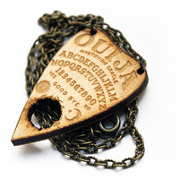 Small Wooden Ouija Planchette Necklace