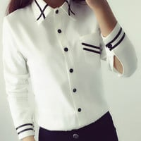 Lace Girl 2016 Women Blouses White Chiffon Office Shirts Tops Long Sleeve Autumn Spring Fashion Kawaii Collar Casual Blouses Top