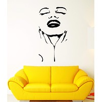 Vinyl Wall Decal Marilyn Monroe Actress Star Beautiful Sexy Woman Face Stickers Unique Gift (1756ig)