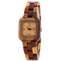 Tense Sandalwood Inlaid Wood Summit Small Wrist Watch