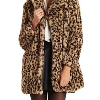 Brown Combo Faux Fur Oversize Coat by Charlotte Russe