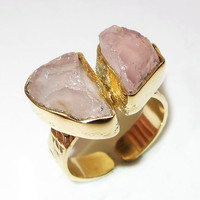 Rose Quartz Ring -  Handmade Ring - Open Ring - 18K Gold Plated Ring - Rough Stone Ring - Bezel Set Ring - Gold On Brass Ring, Gift Ring
