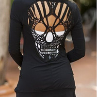Black Skeleton Cut Out Back Long Sleeve Shirt