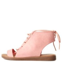 Qupid Lace-Up Flat Sandals by Charlotte Russe - Salmon