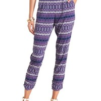 Scarf Print Pleated Jogger Pants