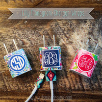Monogrammed Lilly Pulitzer iPhone or iPad Charger Wrap - Decal / Sticker for USB too!