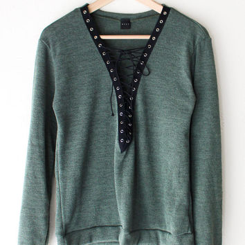 Lace Up Deep V-neck Sweater