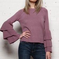 Ruffle Sleeve Sweater - Dusty Lilac