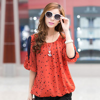 Polka Dot Print Chiffon Blouse Plus Size Casual Shirts Women Clothing Spring Summer Fashion Tops Blusas Camisas Femininas