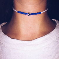 Blue and white evil eye choker