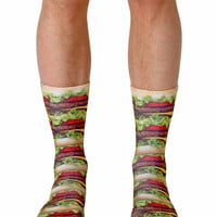 Stacked Hamburger Crew Socks