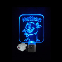 Kids Personalized Custom Mike Wazowski Monsters Inc. LED Night Light *Or Design your own Light