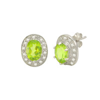 Peridot Gemstone Stud Earrings 925 Sterling Silver Oval Micropave CZ Accent