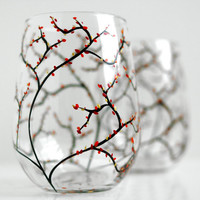 Autumn Wine Glasses--Set of 2 Stemless Hand-painted Glasses