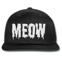 meow snapback hat and beanie