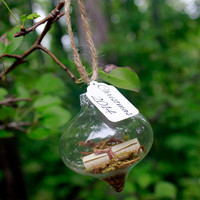 Rustic glass Ornament, Personalized message in a bottle ornament, first christmas ornament, Baby's first Christmas, Our First Christmas