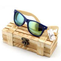 Men's Green Lense Bamboo Wood Sunglasses in Vintage Style with  Plastic Frame and Polarized UV Protection + Gift Box