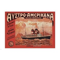 AUSTRO Americana boat cruise TRAVEL VINTAGE Poster BY PATRAS Greece 24x36 HOT