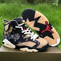 Travis Scott × Air Jordan 6 Retro colorblock women's sneakers Shoes