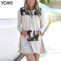 YOINS 2016 New Women Fashion Floral Printed Long Sleeves Hoodies Casual Loose Pullover Midi Length Autumn Sweatshirt Tracksuit